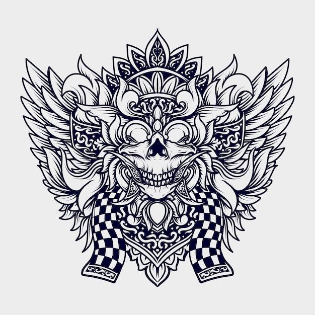 Ilustração em preto e branco desenhada à mão balinese barong Vetor Premium