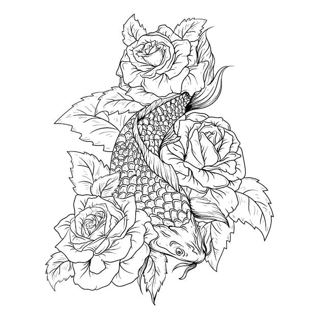 Ilustração em preto e branco desenhada à mão peixe koi e rosa Vetor Premium