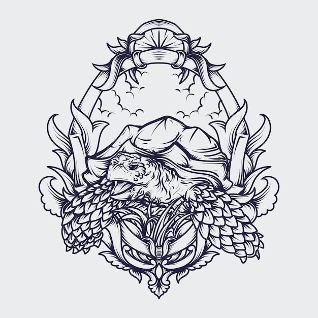 Ilustração em preto e branco desenhada à mão sulcata tartaruga gravura ornamento Vetor Premium