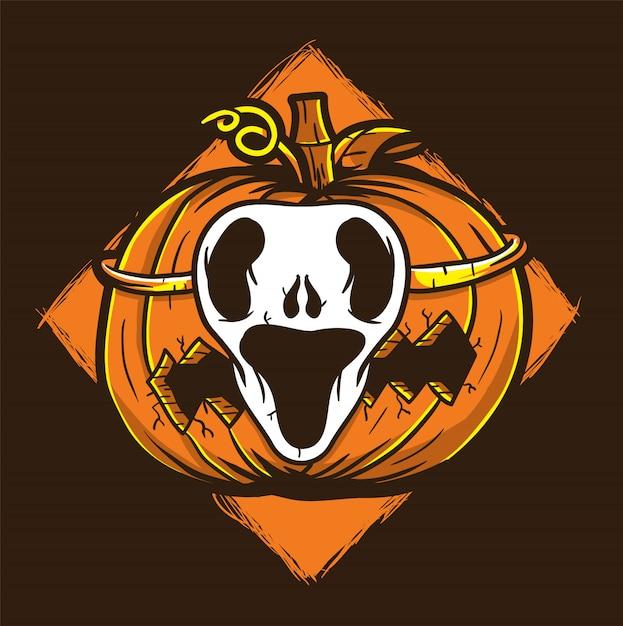 Ilustração em vetor abóbora fantasma máscara halloween Vetor Premium