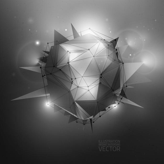 Ilustração em vetor abstrato poligonal de ficção científica Vetor Premium