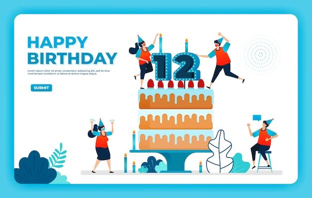 Ilustração em vetor aniversário com protocolo de saúde. Vetor Premium