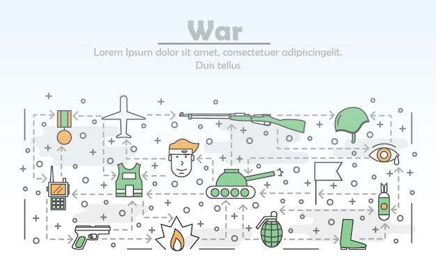 Ilustração em vetor arte fina linha guerra Vetor Premium