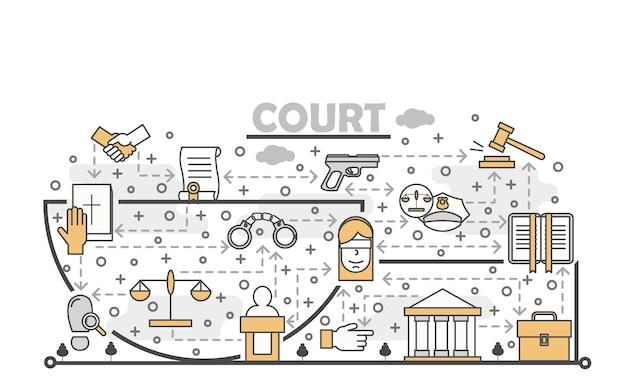 Ilustração em vetor arte linha fina tribunal Vetor Premium