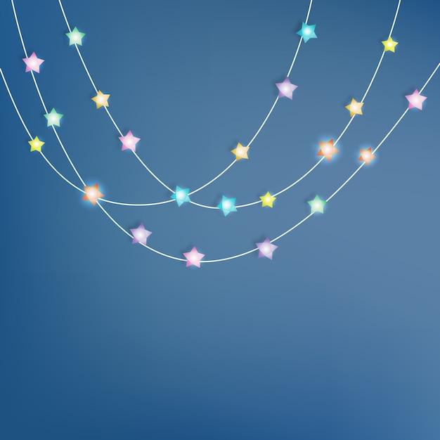Ilustração em vetor arte papel estrela de iluminação Vetor Premium