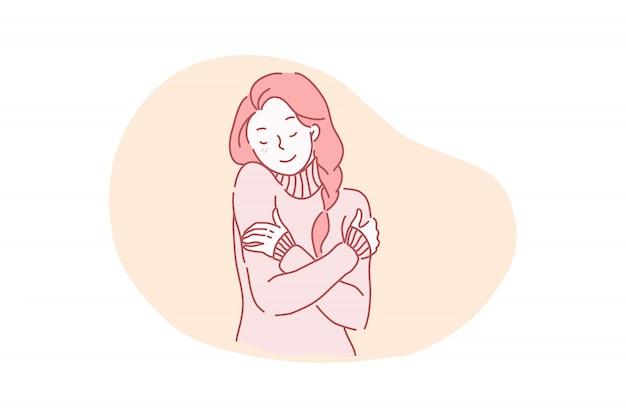 Ilustração em vetor atraente, charmoso, bem preparado linda, linda, gentil, calma alegre jovem se abraçando. Vetor Premium