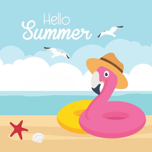 Ilustração em vetor banner venda verão. flamingo na praia Vetor Premium