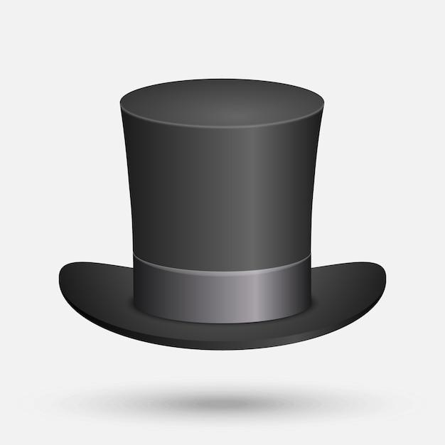 Ilustração em vetor black top hat isolada no fundo branco Vetor Premium