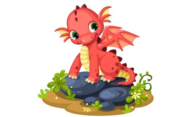 Ilustração em vetor bonito dos desenhos animados dragão vermelho bebê Vetor Premium