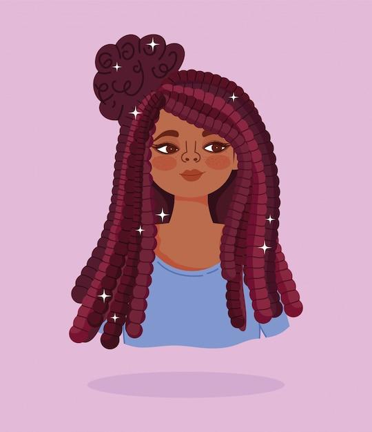 Ilustração em vetor cabelo comprido garota afro-americana retrato de personagem de desenho animado Vetor Premium
