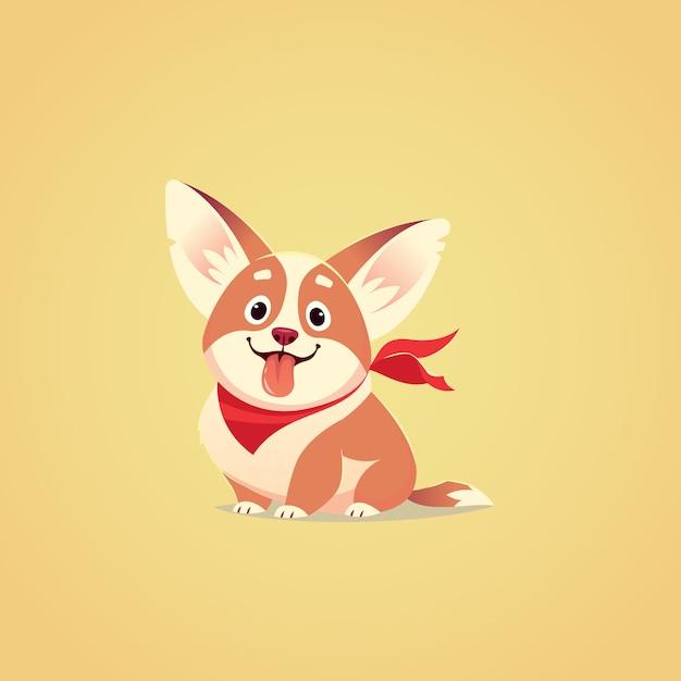 Ilustração em vetor cachorro bonito personagem. estilo de desenho animado. filhote de corgi faminto feliz com a língua de fora. animal. Vetor Premium
