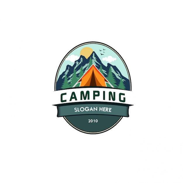 Ilustração em vetor camping logotipo modelo Vetor Premium