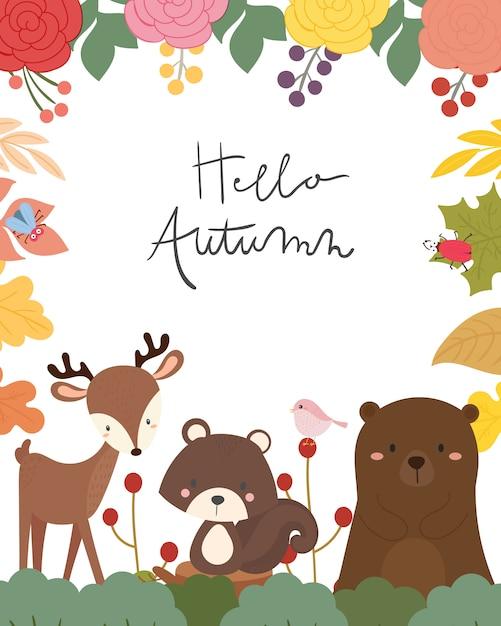 Ilustração em vetor cartão animal outono bonito. Vetor Premium