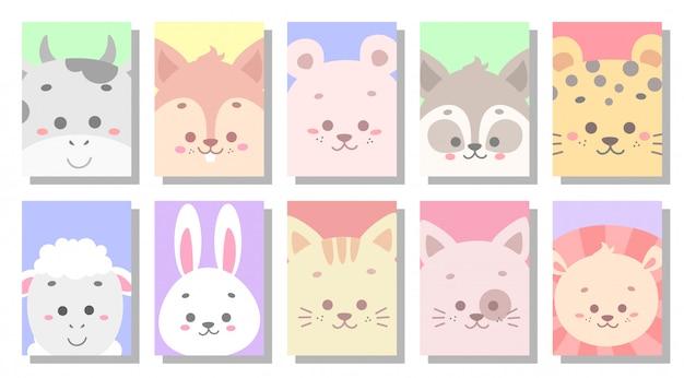 Ilustração em vetor cartão bebê fofo animal Vetor Premium