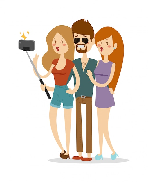 Ilustração em vetor casal selfie. Vetor Premium