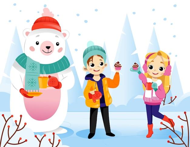 Ilustração em vetor cena inverno em estilo simples dos desenhos animados no fundo da paisagem a nevar. personagens coloridos gradientes em pé e sorrindo. adolescente feliz, menina e urso polar em roupas quentes. Vetor Premium