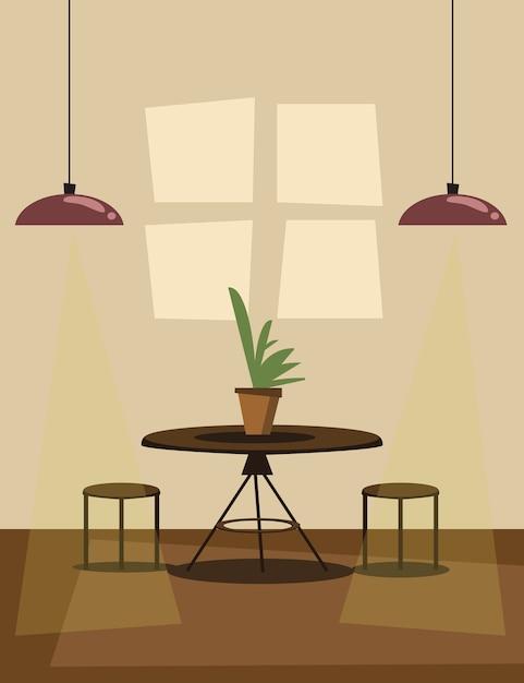 Ilustração em vetor cena sala de jantar Vetor Premium
