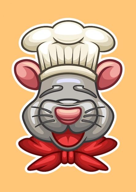 Ilustração em vetor chefe cartoon rato cabeça Vetor Premium