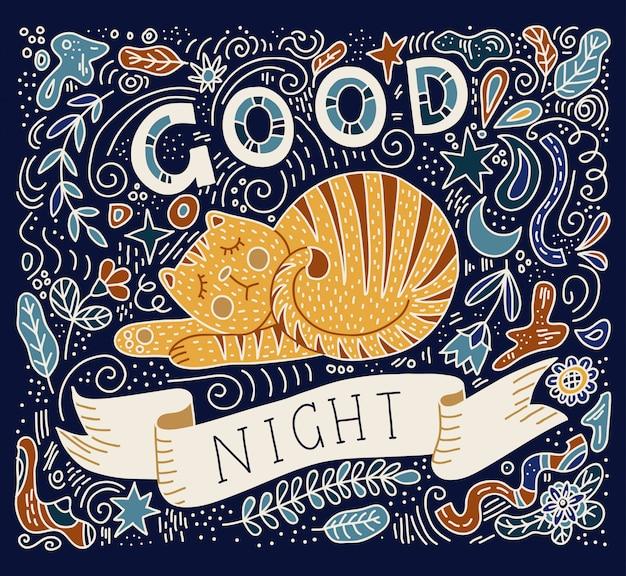 Ilustração em vetor colorido da mão lettering texto - boa noite. gato dormindo Vetor Premium