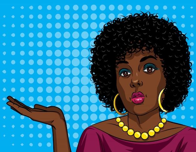 Ilustração em vetor colorido de uma mulher afro-americana no estilo de arte em quadrinhos Vetor Premium