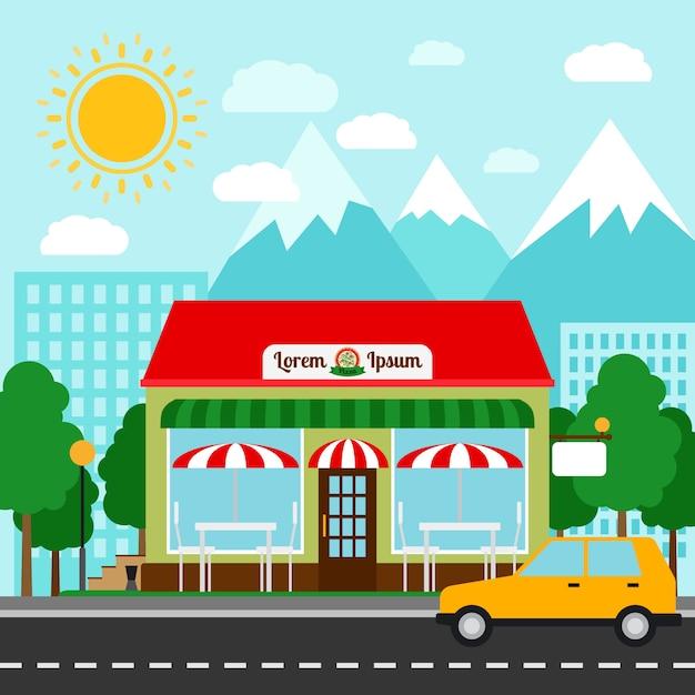 Ilustração em vetor colorido pizzaria. frente de loja de casa de pizza com montanhas e cidade Vetor Premium