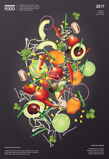 Ilustração em vetor comida ingrediente voador Vetor Premium