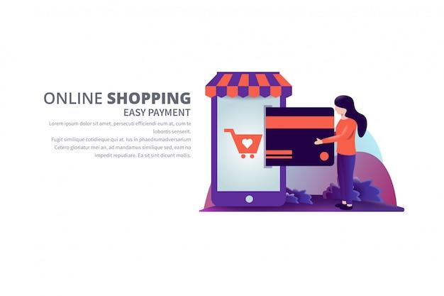 Ilustração em vetor compras on-line de pagamento fácil com banner de modelo de texto Vetor Premium