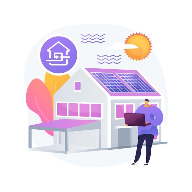 Ilustração em vetor conceito abstrato casa passiva. padrões de casa passivos, eficiência de aquecimento, redução da pegada ecológica, tecnologia de economia de energia, metáfora abstrata de casa sustentável. Vetor grátis