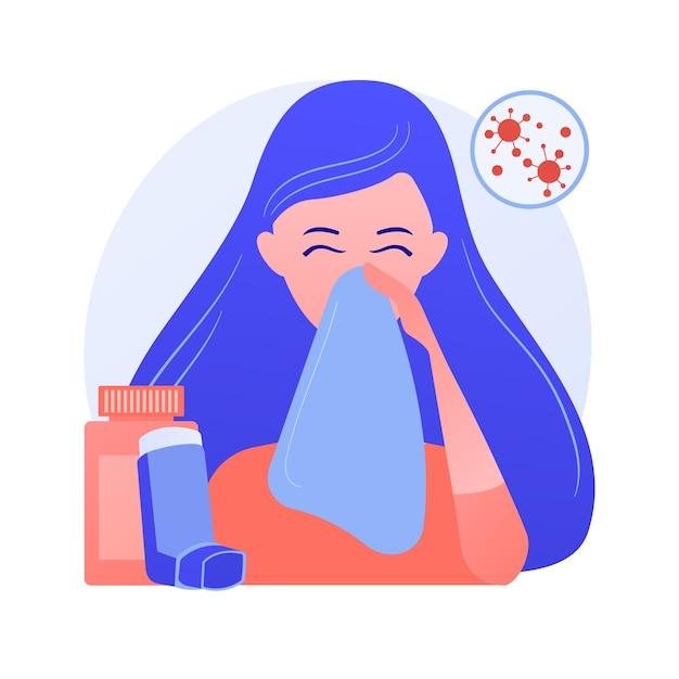 Ilustração em vetor conceito abstrato de doenças alérgicas. alergia atópica, reação grave, terapia com anti-histamínicos, tratamento de doenças alérgicas, erupção cutânea, metáfora abstrata da clínica dermatológica. Vetor grátis