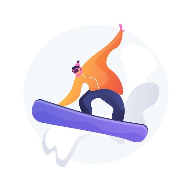Ilustração em vetor conceito abstrato de embarque. esporte de inverno, atividade ao ar livre, capacete e óculos de snowboard, férias na montanha, esportes radicais, esqui alpino, piloto de estilo livre, metáfora abstrata de neve. Vetor grátis