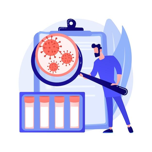 Ilustração em vetor conceito abstrato de kit de teste de coronavirus. novo diagnóstico de coronavírus, kit de teste covid-19, protocolo de teste ncov, localização de anticorpos, metáfora abstrata de diagnóstico rápido. Vetor grátis