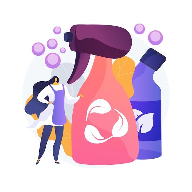 Ilustração em vetor conceito abstrato de limpeza verde. empresa de limpeza ecológica, serviço ecologicamente correto, produto detergente natural, equipamento de lavanderia, metáfora abstrata do químico de lavagem. Vetor grátis