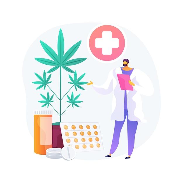 Ilustração em vetor conceito abstrato de maconha medicinal. cannabis médica, drogas canabinóides, tratamento de doenças e condições, alívio da dor do câncer, mercado de cânhamo, metáfora abstrata de cultivo. Vetor grátis