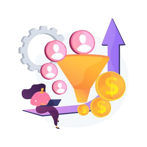 Ilustração em vetor conceito abstrato de otimização de taxa de conversão. sistema de marketing digital, marketing de atração de leads, aumento de visitantes do site, conversão de visitantes em metáforas abstratas de clientes. Vetor grátis