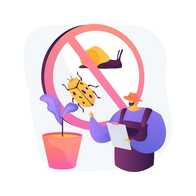 Ilustração em vetor conceito abstrato de pragas de jardim. manutenção de jardins, insetos vegetais, inseticida em spray, pesticidas naturais, danos à colheita, doenças virais, metáfora abstrata do controle natural de pragas. Vetor grátis
