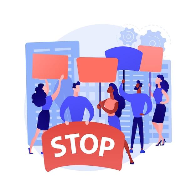 Ilustração em vetor conceito abstrato de protesto em massa. manifestação, motins violentos, movimento social, direitos políticos, igualdade racial, aplicação da lei, ativista político, metáfora abstrata de democracia. Vetor grátis