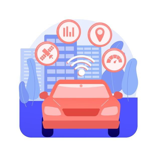 Ilustração em vetor conceito abstrato de sistema de transporte inteligente. gerenciamento de tráfego e estacionamento, tecnologia de cidade inteligente, segurança rodoviária, informações sobre viagens, metáfora abstrata de transporte público. Vetor grátis