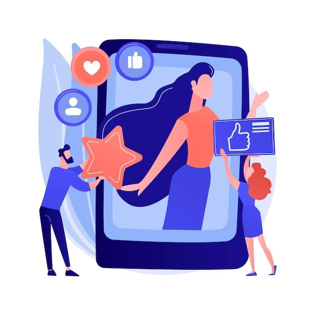 Ilustração em vetor conceito abstrato estrela de mídia social. influenciador, alcance e envolvimento de mídia social, monetização de contas de celebridades, blog pessoal, metáfora abstrata de criação de conteúdo de estrelas. Vetor grátis