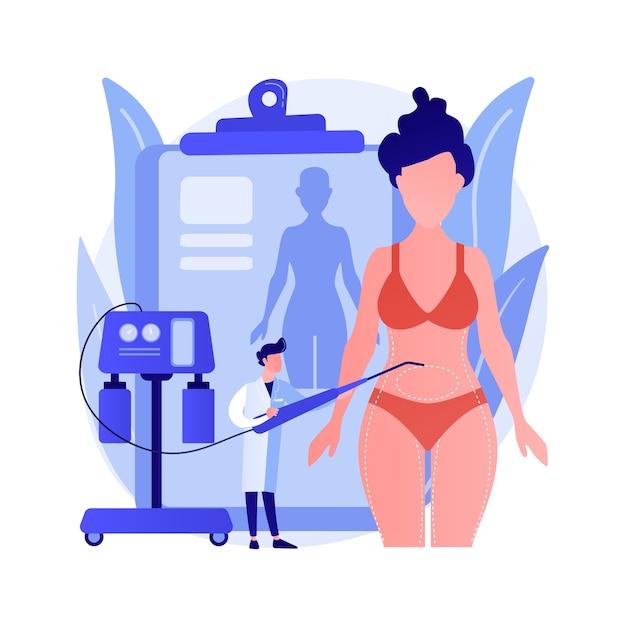 Ilustração em vetor conceito abstrato lipoaspiração. procedimento de lipo, aspiração de cirurgia plástica de remoção de gordura, contorno corporal, padrão de beleza, perda de peso, metáfora abstrata de alternativas de lipoaspiração. Vetor grátis