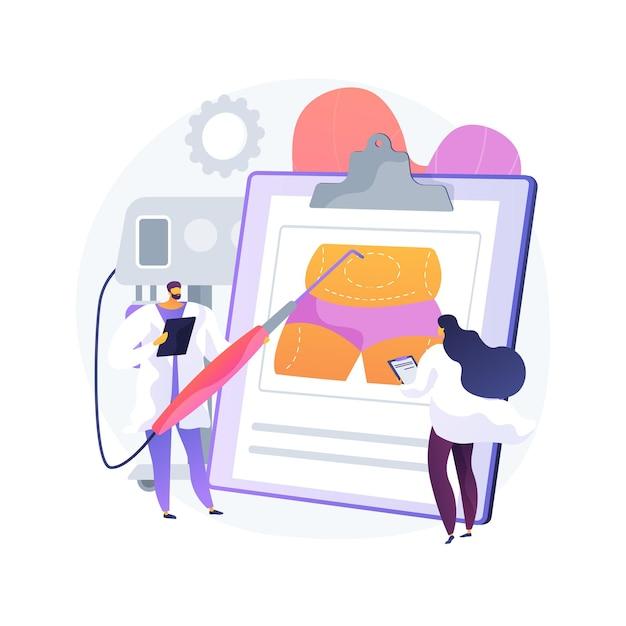 Ilustração em vetor conceito abstrato lipoaspiração. procedimento lipo, aspirar a cirurgia plástica de remoção de gordura, contorno corporal, padrão de beleza, perda de peso, alternativas de lipoaspiração metáfora abstrata. Vetor grátis