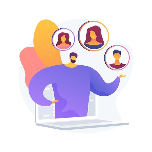 Ilustração em vetor conceito abstrato persona do cliente. entenda as necessidades potenciais do cliente, o público-alvo, a pesquisa do usuário baseada em dados, o posicionamento da marca, colete metáforas abstratas de feedback. Vetor grátis