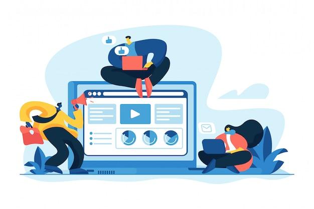 Ilustração em vetor conceito de serviços de marketing de conteúdo Vetor Premium
