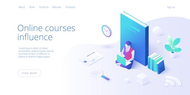 Ilustração em vetor conceito educação online em design isométrico Vetor Premium