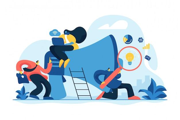 Ilustração em vetor conceito equipe de marketing. Vetor Premium