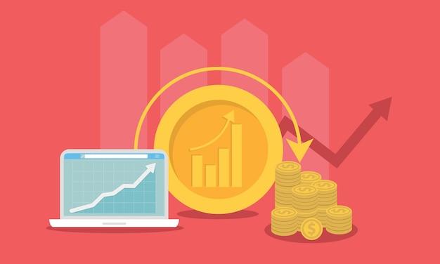 Ilustração em vetor conceito investimento. marketing de negócios de roi. estratégia de lucro ou resultado financeiro Vetor Premium