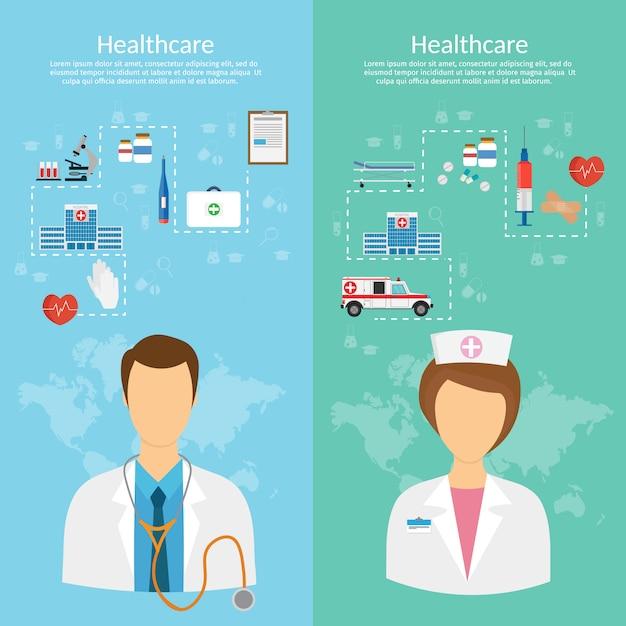 Ilustração em vetor conceito medicina em estilo moderno design plano Vetor Premium