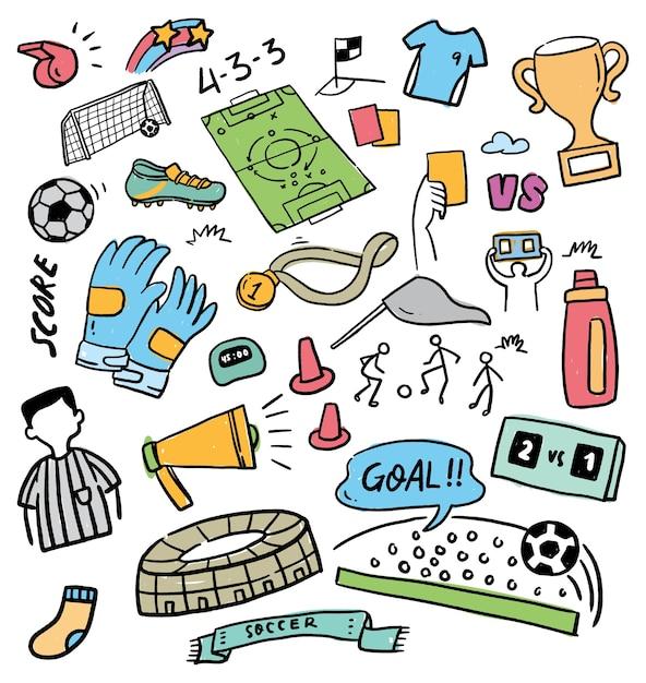 Ilustração em vetor conjunto futebol doodle Vetor Premium