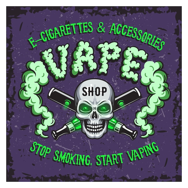 Ilustração em vetor cor de fumaça de vapor e cigarros eletrônicos. Vetor grátis