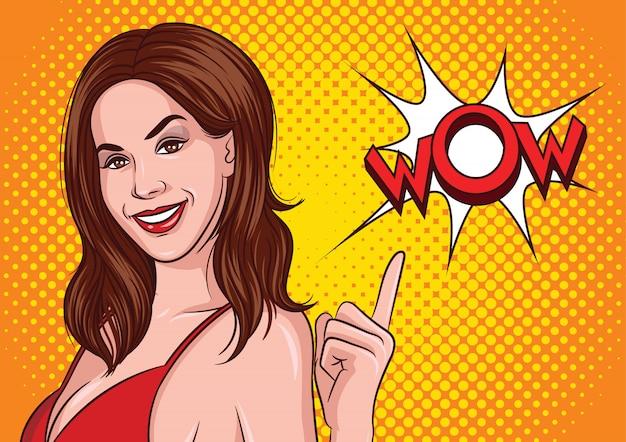 Ilustração em vetor cor de um estilo pop art. a bela jovem de vestido vermelho Vetor Premium