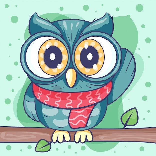 Ilustração em vetor coruja bonito dos desenhos animados Vetor Premium